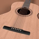 Acoustic guitar. 3d rendering of acoustic guitar Royalty Free Stock Photography