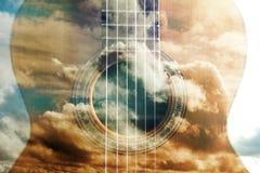 Acoustic guitar design Stock Image