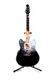 Acoustic Guitar Double Cutaway Black on fire Stock Image