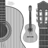Acoustic Guitar in engraving style Royalty Free Stock Images