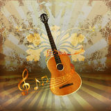 Acoustic guitar entwined with music notes. Vector illustration of music background realistic acoustic guitar woven by musical notes Stock Photo
