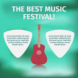 Acoustic guitar on festival banner Stock Images