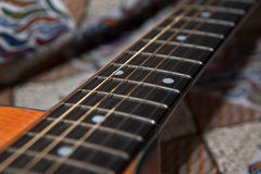 Acoustic guitar fingerboard Royalty Free Stock Image