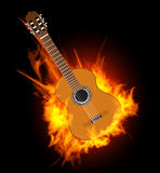 Acoustic guitar in fire flame. Vector illustration on black Royalty Free Stock Photo