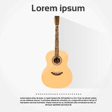 Acoustic Guitar Flat  over White Royalty Free Stock Photography