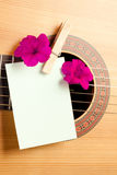 Acoustic guitar and flowers. Acoustic guitar with flowers and blank card. Concept image for invitation to a romantic/musical event royalty free stock images