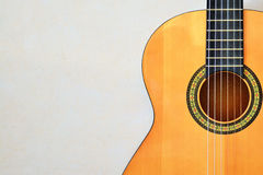 Acoustic guitar front view with space for text Royalty Free Stock Photos