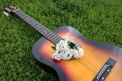 Acoustic guitar in the green grass Royalty Free Stock Photo