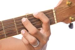 Acoustic guitar guitarist playing   Am minor Chord on white background Stock Photography