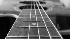 Acoustic guitar harley benton black and white royalty free stock images