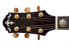 Acoustic Guitar Head. Closeup Acoustic Guitar Head and tuner Royalty Free Stock Photos