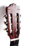Acoustic guitar head on white Royalty Free Stock Images