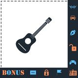 Acoustic guitar icon flat royalty free illustration