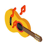 Acoustic guitar icon, isometric 3d style Royalty Free Stock Photo