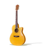 Acoustic Guitar/Isolated. An isolated yellow cutaway acoustic guitar on white Royalty Free Stock Image