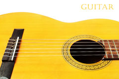 Acoustic guitar isolated white background Royalty Free Stock Photos