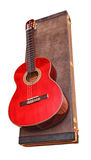 Acoustic guitar. Acoustic guitar and its case isolated Royalty Free Stock Photography