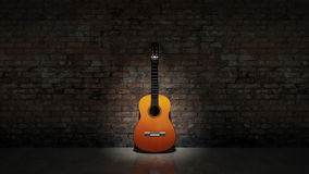 Acoustic guitar leaning on grungy wall. Design made in 3D Royalty Free Stock Photo
