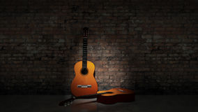 Acoustic guitar leaning on grungy wall Royalty Free Stock Photos