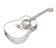 Acoustic guitar. In line art style Royalty Free Stock Photography