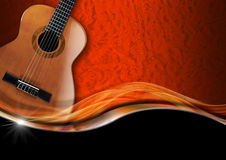 Acoustic Guitar on Luxury Background. Acoustic Guitar on orange texture with ornate floral seamless with metal wave and black background Stock Photography