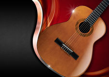 Acoustic Guitar on Luxury Background Stock Images