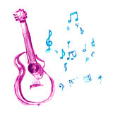 Acoustic guitar. Made with watercolor strokes and musical notes Royalty Free Stock Photo