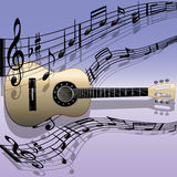 Acoustic guitar-Melody. Illustration of acoustic guitar with musical notes on abstract background Vector Illustration