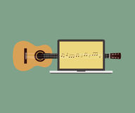 Acoustic guitar melody laptop flat design vector illustration Royalty Free Stock Images