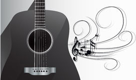 Acoustic Guitar and Melody Royalty Free Stock Photos