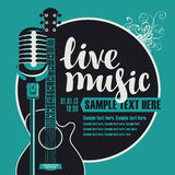 Acoustic guitar and a microphone. Banner with an acoustic guitar and a microphone for the concert of live music Vector Illustration