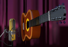 Acoustic guitar and microphone on a curtain background 3d illus Stock Photos