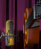Acoustic guitar and microphone on a purple background 3d illust Stock Photography