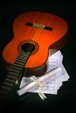 Acoustic guitar, music sheet Royalty Free Stock Photo