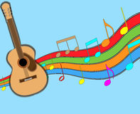 Acoustic Guitar and Music Staff. stock photo