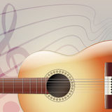 Acoustic Guitar Musical Background. Acoustic six-string Guitar on Square Musical Background Stock Photo