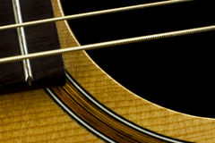 Acoustic guitar neck fingerboard frets strings music case close inlay creativity art sound vibration play music guitarist musician Royalty Free Stock Photography