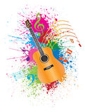 Acoustic Guitar with Paint Splatter Illustration. Acoustic Guitar with Musical Notes and Paint Splatter Abstract Effect Color Illustration Vector Illustration