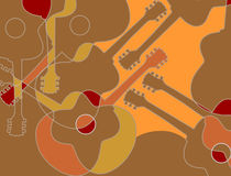 Acoustic guitar pattern. Seamless pattern with acoustic guitar silhouettes abstract vector. Guitar abstract background stock illustration