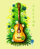 Acoustic guitar with a peace sign watercolor Royalty Free Stock Images