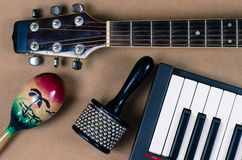 Acoustic guitar Percussion Accessories music. Acoustic guitar keyboard Percussion Accessories music Royalty Free Stock Photo