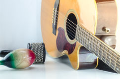 Acoustic guitar Percussion Accessories White background stock images
