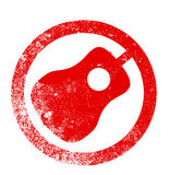Acoustic Guitar Red Ink Stamp Stock Image