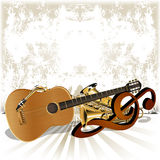Acoustic guitar rests on the treble clef trumpet. Vector illustration musical background acoustic guitar with trumpet and saxophone lying on the treble clef Stock Images