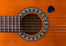 Classical wooden guitar strings close up stock photos