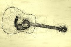 Acoustic guitar Scribble illustration stock images
