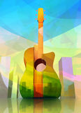 Acoustic Guitar-shaped City. Modern Creative Illustration of Acoustic Guitar-shaped City in Abstract Style. Colorful Concept Design Vector Illustration