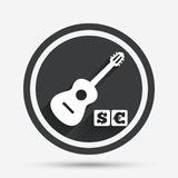 Acoustic guitar sign icon. Paid music symbol. Stock Images