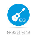 Acoustic guitar sign icon. Paid music symbol. Stock Photo