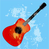 Acoustic guitar silhouette on a blue background Royalty Free Stock Photos